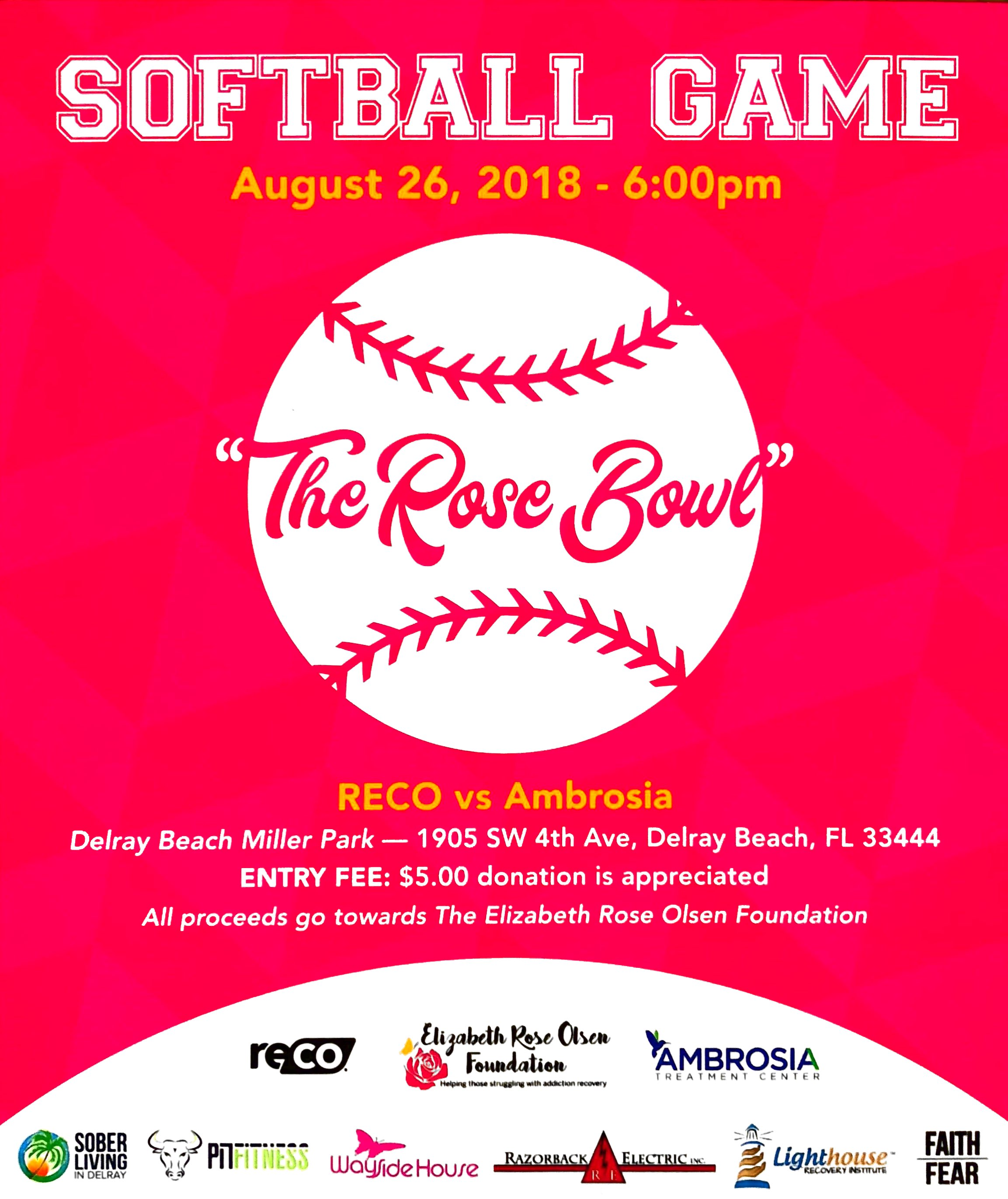 Redemption Halfway House Delray Beach: Softball Game: The Rose Bowl